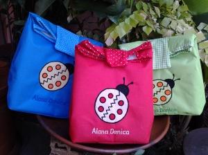 Paper bag handmade-aplikasi lady bug