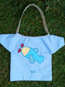 goody bag handmade-baju-aplikasi pesawat