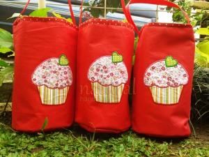 Lunch bag / tas makanan handmade-cupcake merah