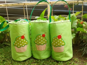 Lunch bag handmade - cupcake hijau