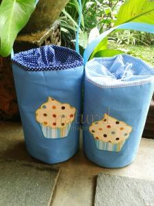 Lunch bag / tas makanan handmade-cupcake biru