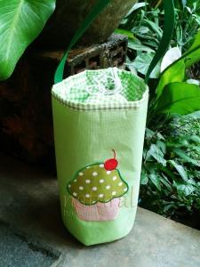 Lunch bag / tas makanan handmade- cupcake hijau