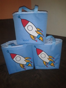 Lunch bag handmade aplikasi rocket