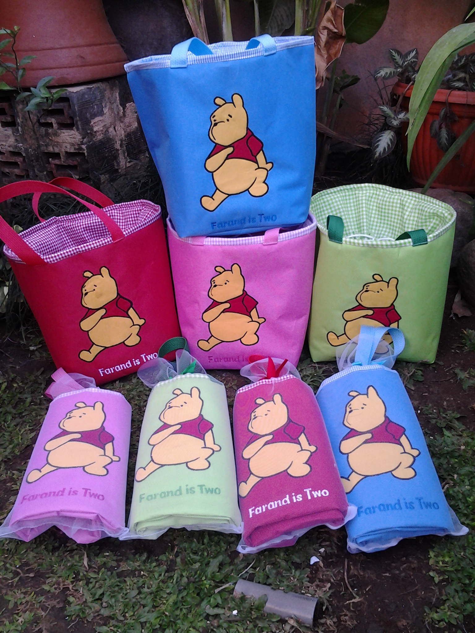 lunch bag handmad aplikasi pooh